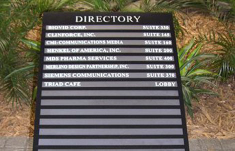 Custom directory sign for in-building directions